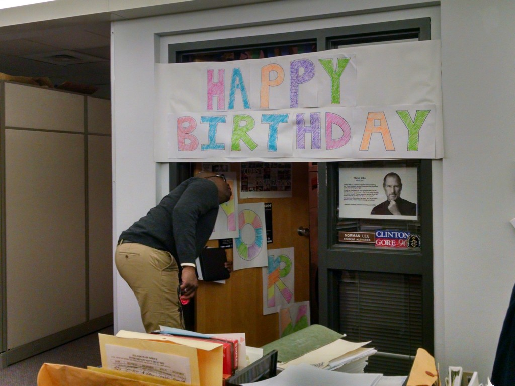 Director of Student Activities at Cayuga Community College in Auburn gets a birthday surprise