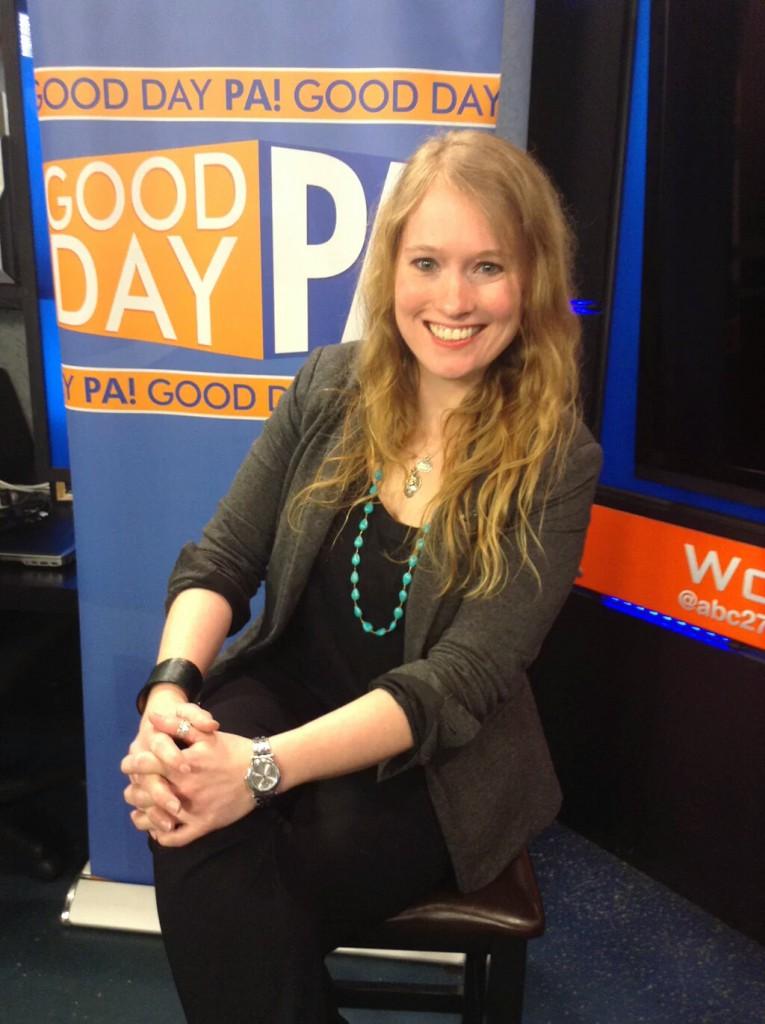 Christina Irene on set in ABC27 Harrisburg